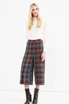 Pantaloni modello gaucho tartan, Blu/Marrone, hi-res