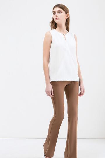 Sleeveless crossover blouse, White, hi-res