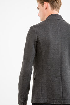 Wool-viscose blend jacket with two buttons, Grey, hi-res