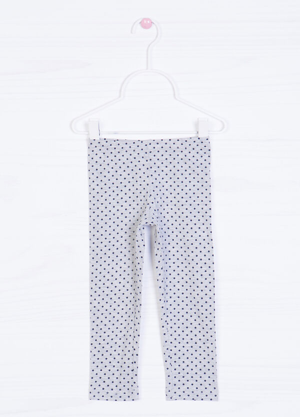 Stretch cotton polka dot print leggings | OVS