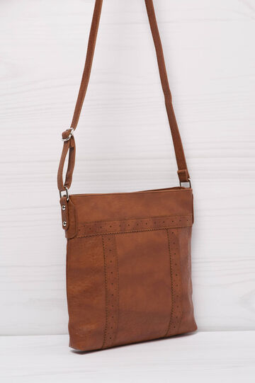 Solid colour leather look shoulder bag., Leather Brown, hi-res
