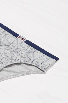 Stretch briefs with geometric pattern, Grey, hi-res