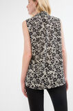 Sleeveless crêpe blouse with flower pattern, White/Black, hi-res