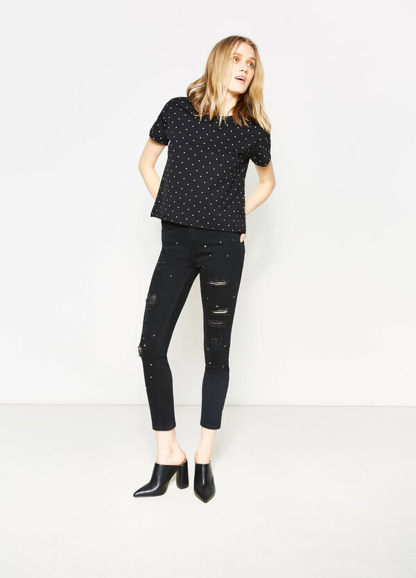 Camiseta corta con bordes sin rematar | OVS