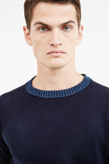 Pullover tinta unita lavorato tricot, Blu navy, hi-res