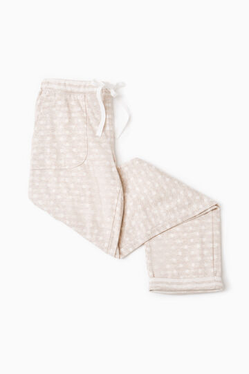 Polka dot pyjama trousers in cotton, Beige, hi-res