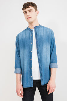 Denim casual shirt with mandarin collar, Blue, hi-res