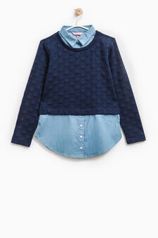 Faux layered sweatshirt with embossed dot design, Soft Blue, hi-res
