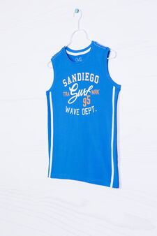 100% cotton vest top with lettering print, Electric Blue, hi-res
