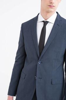 Solid colour elegant suit in slim fit, Blue, hi-res