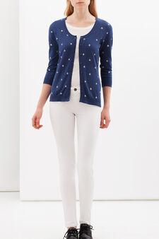Printed cardigan with three-quarter sleeves., Denim, hi-res