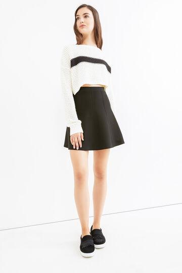 High-waisted skirt in viscose blend., Black, hi-res