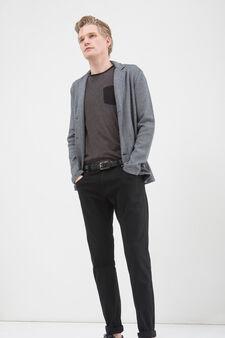 100% cotton T-shirt with pocket, Black, hi-res