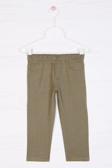 Stretch cotton blend leggings, Olive Green, hi-res