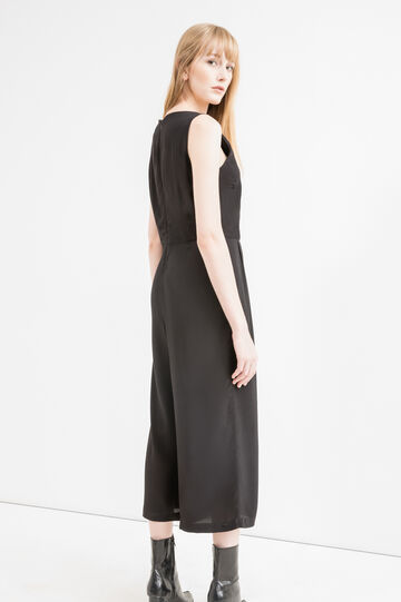Stretch viscose playsuit with gaucho pants, Black, hi-res
