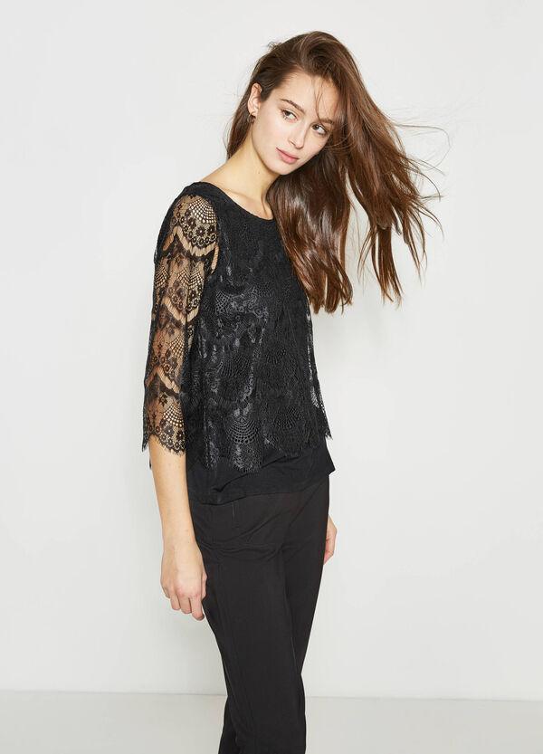 Camiseta en viscosa elástica con encaje | OVS