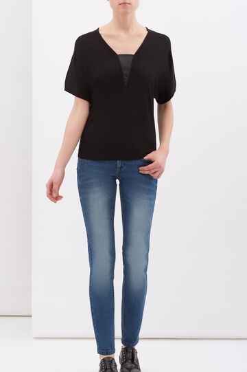 T-shirt in stretch viscose with splits, Black, hi-res