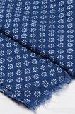 Fringed floral scarf, Blue, hi-res