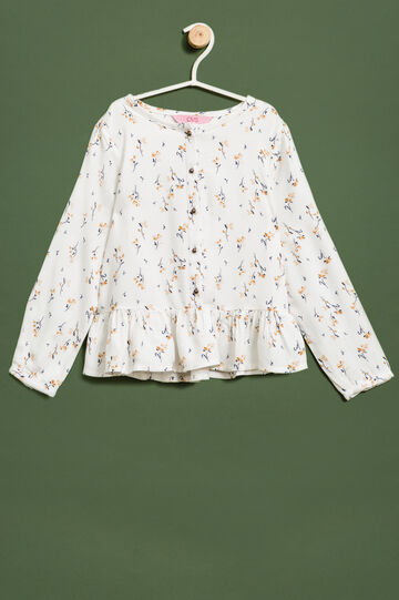 Floral patterned blouse with flounces, Milky White, hi-res