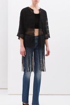 Openwork lace cardigan, Black, hi-res