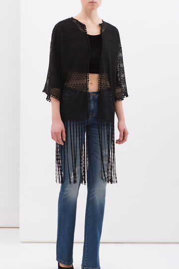 Openwork lace cardigan, Black, hi-res
