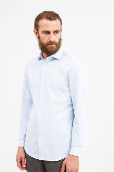 Slim fit formal shirt in 100% cotton, Soft Blue, hi-res