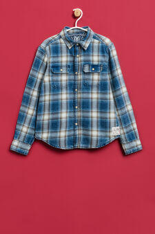 100% cotton check shirt, White/Blue, hi-res