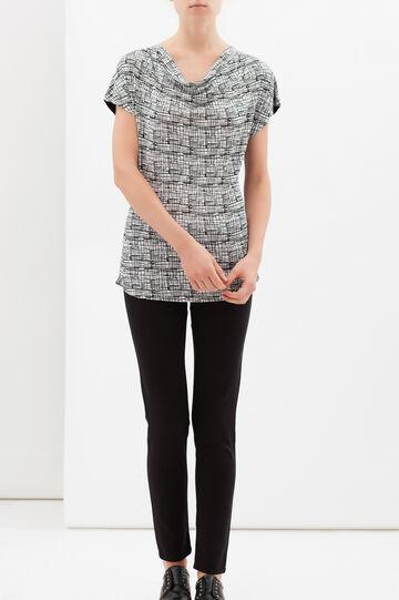 T-shirt con stampa a quadretti, Bianco/Nero, hi-res