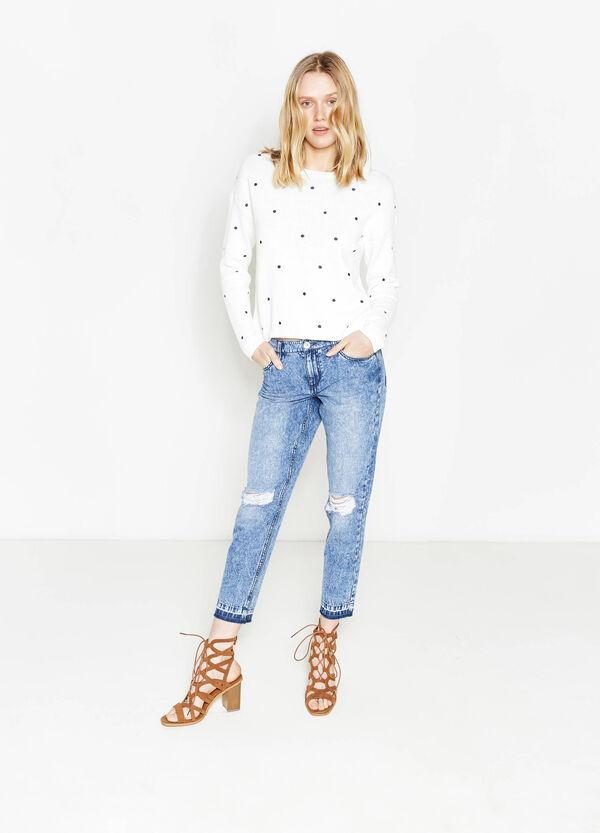 Mis-dyed-effect, ripped girlfriend jeans | OVS