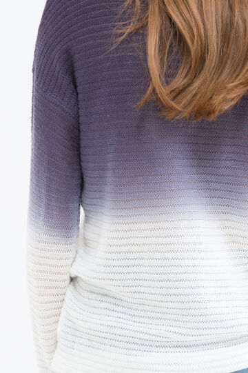 Degradé knit pullover, White/Blue, hi-res
