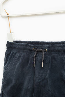 100% cotton ribbed trousers, Ocean Blue, hi-res