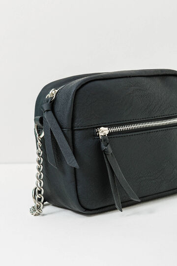 Solid colour shoulder bag with zip, Black, hi-res