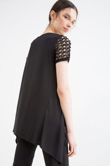 T-shirt pura viscosa traforata, Nero, hi-res