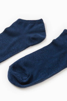 Two-pair pack solid cotton socks, Blue, hi-res