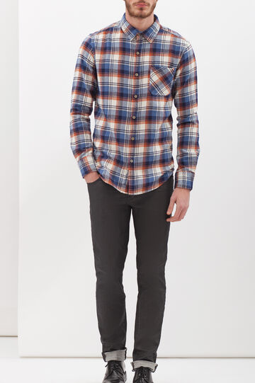 G&H check flannel shirt, White/Blue/Brown, hi-res