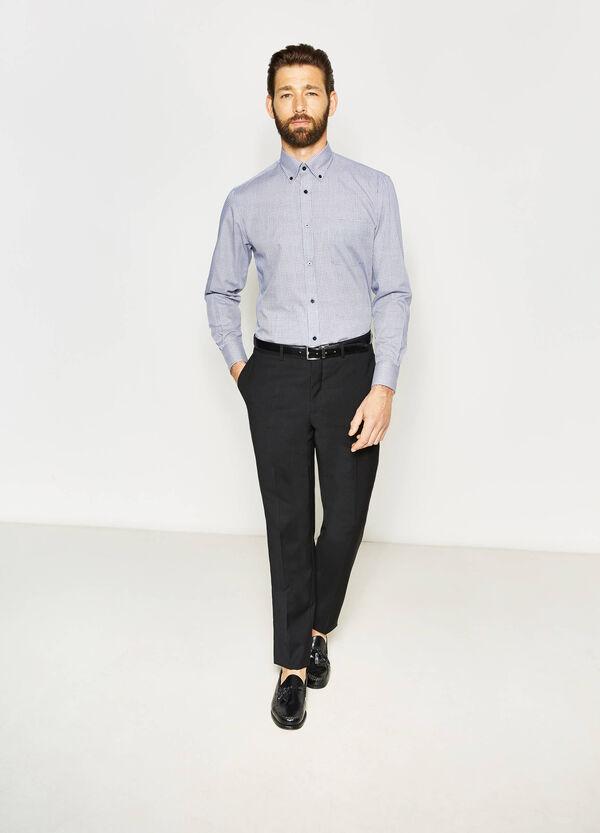 Camisa formal regular fit con cuadros pequeños | OVS