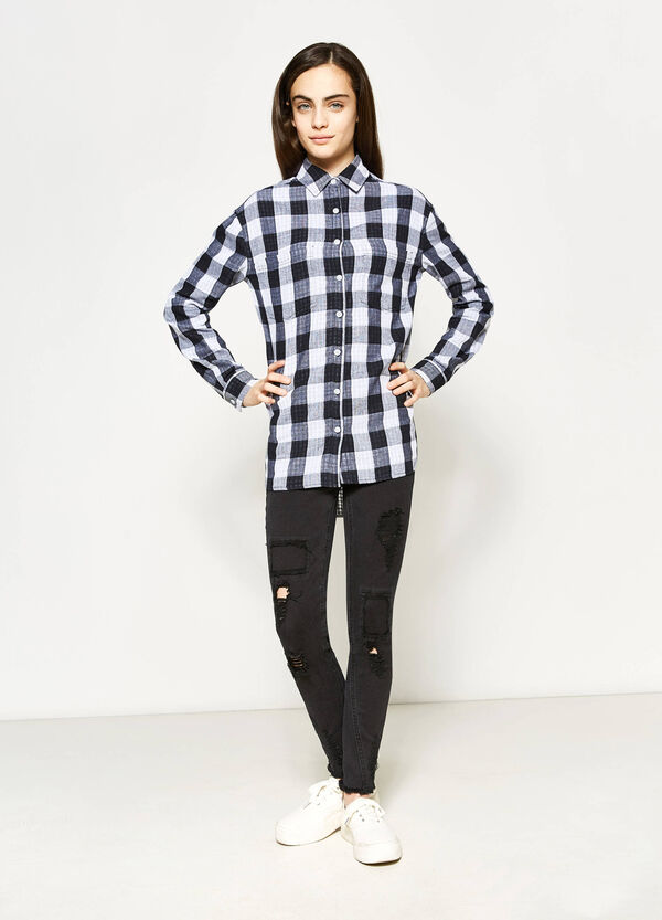 Teen checked cotton shirt | OVS