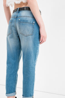 Used-effect, ripped boyfriend jeans, Medium Wash, hi-res