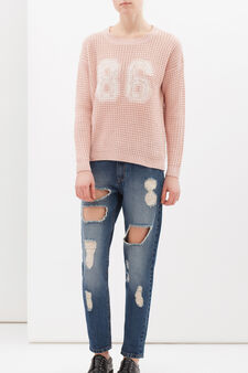 Crew-neck pullover with lace, Pink, hi-res