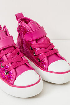 High-top, lace-up glitter sneakers, Fuchsia, hi-res