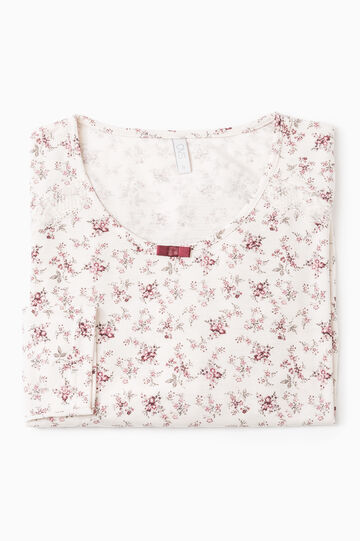 Floral pyjama top, Cream, hi-res
