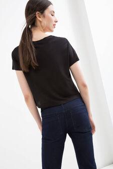100% viscose crop T-shirt., Black, hi-res