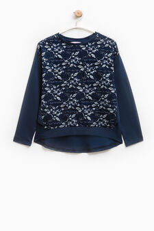 Glitter lace sweatshirt in 100% cotton, Blue, hi-res