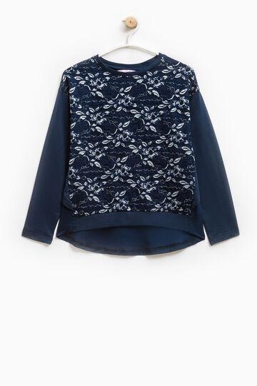 Glitter lace sweatshirt in 100% cotton, Blue, hi-res