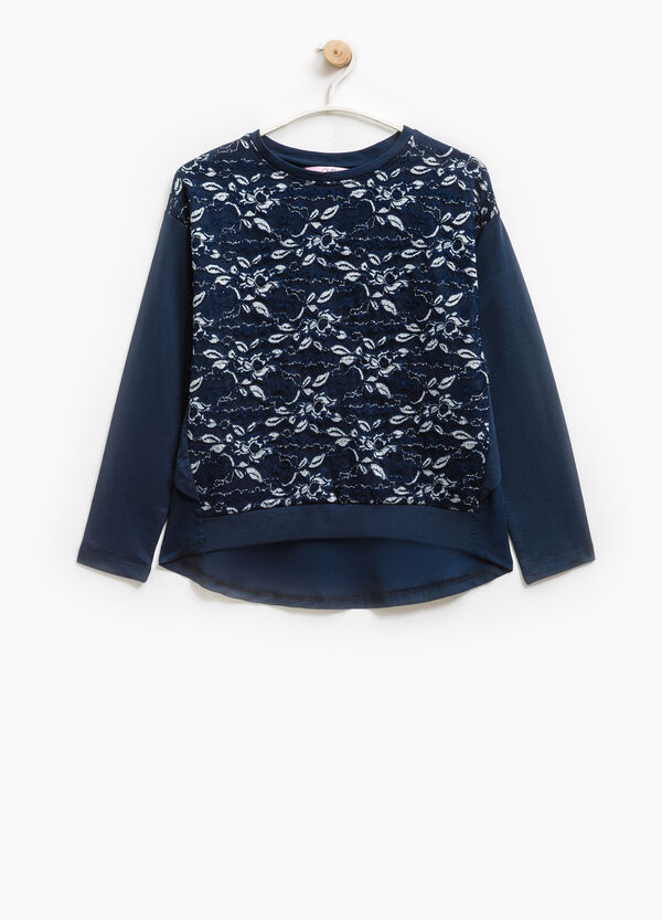 Glitter lace sweatshirt in 100% cotton | OVS