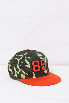 Patterned cotton baseball cap, Black, hi-res