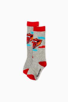 Long stretch Cars socks, Grey Marl, hi-res