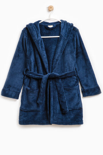 Bathrobe with double pocket and hood, Navy Blue, hi-res