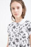 Stretch floral cotton polo shirt, White/Black, hi-res