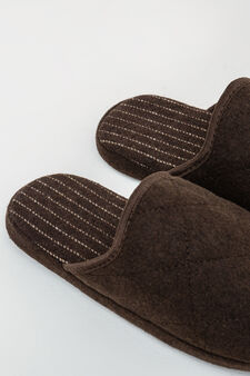 Slippers with contrasting colour stitching, Brown, hi-res
